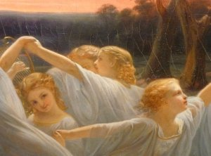 Nils Johan Olsson Blommer Angsalvor, 1850 (Fairies of the Meadow, 1850) detail-1